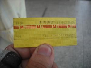 Boleto del Sistema Metro de Caracas. El de ésta ruta lo podrá identificar por las letras REU, aparte del costo de Bs.3,00